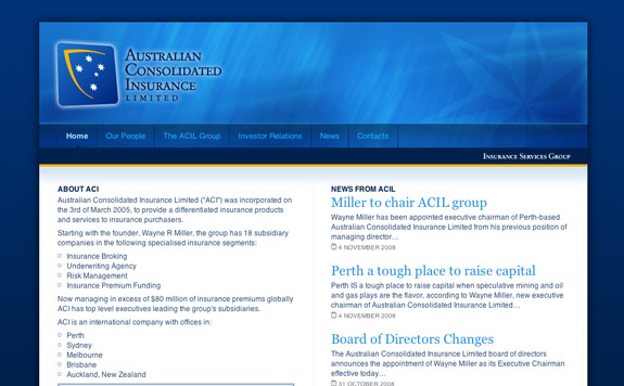 Australian Consolidated Insurance Limited's Home Page (Upper)