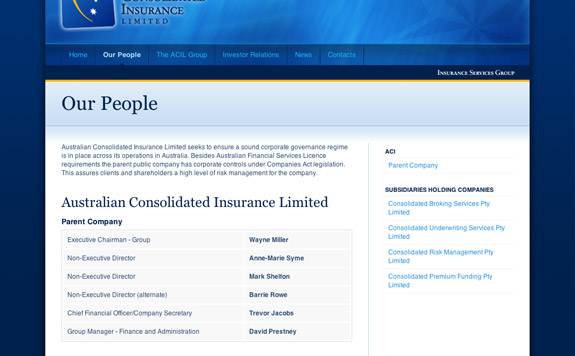 Australian Consolidated Insurance Limited's People page