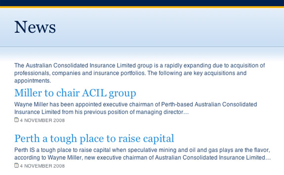 Australian Consolidated Insurance Limited's News listing
