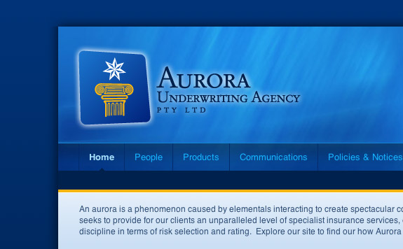 Aurora Underwriting Agency Pty Ltd's website header