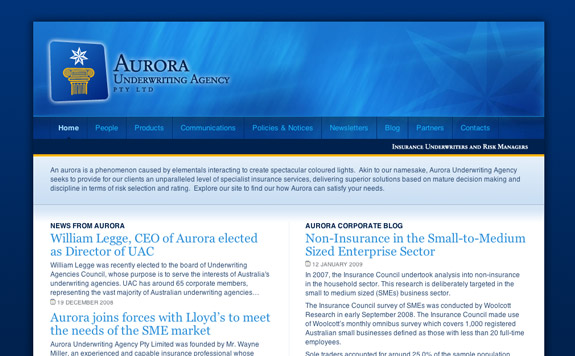 Aurora Underwriting Agency Pty Ltd's Home Page (Upper)