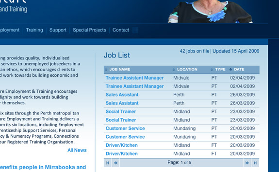 Job List closeup