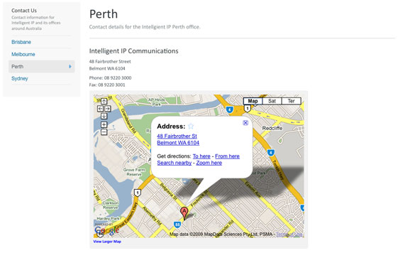Office Contact page with Google Map