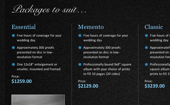 Packages (pricing) page