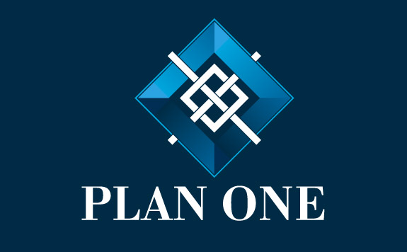 Initial 'Plan One' logo reversed